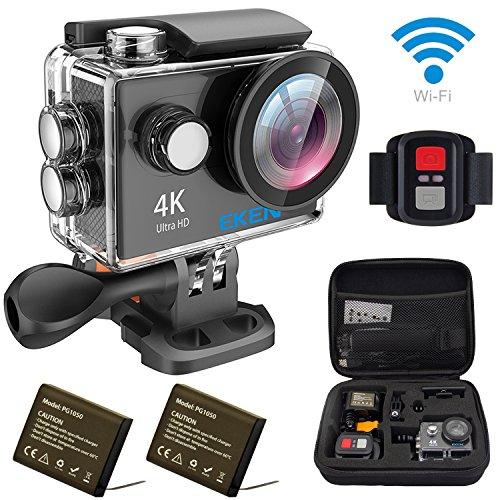 EKEN H9R アクションカメラ「メーカー直販」 4K Full HD Wifi連動 25fps録画 ウェアラブルカメラ 専用ケース ループ録画 スポーツカメラ 映像再生 170°広角レンズ アクションカム リモコン付き 完備セット(ブラック)の商品画像