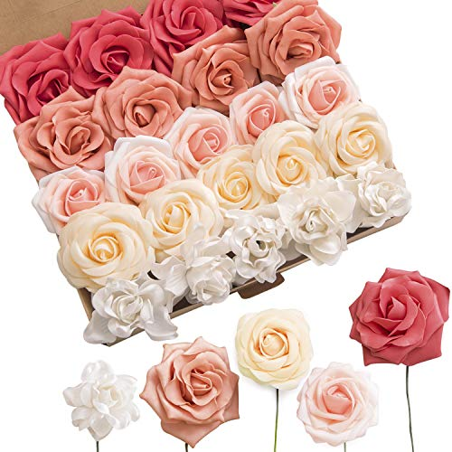 Ling's moment Artificial Flowers Combo Realistic Fake Roses