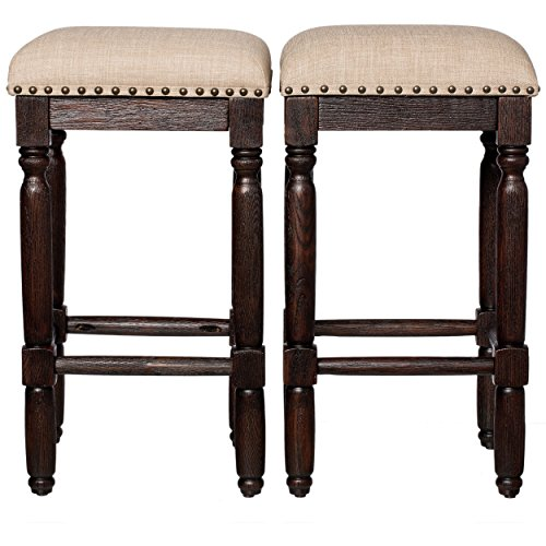 Rustic Style Vintage 26-inch Wooden Backless Counter Height Bar Stools with Foam Cushions | Coffee Finish (Set of 2) - Includes Modhaus Living Pen (Linen)