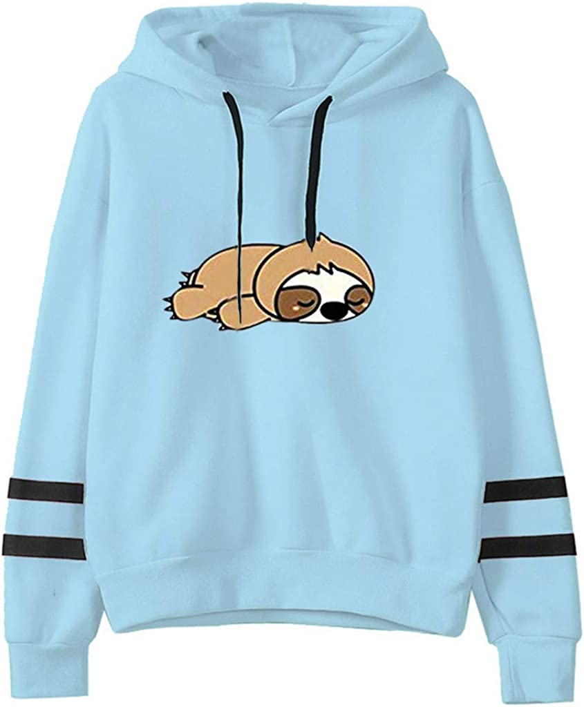 FEDULK Women Hoodie Sweatshirt Cute Tree Sloth Print Stripe Splicing Long Sleeve Hooded Pullover Sweater Jumper