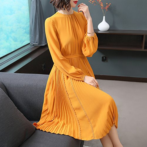 Line Color Chiffon Dress Casual A Women`s Pleated Solid Dresses cotyledon wqRA8U4