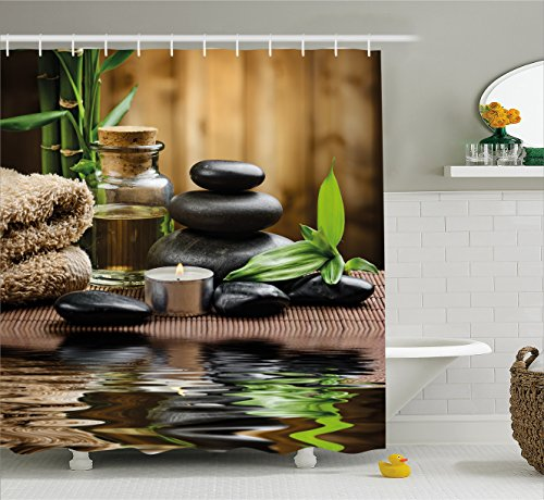 Ambesonne Spa Decor Shower Curtain by, Asian Zen Massage Stone Triplets with Herbal Oil and Scent Candles, Fabric Bathroom Decor Set with Hooks, 84 Inches Extra Long, Sand Brown Green