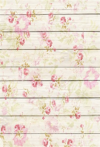 Leowefowa 3x5FT Floral Backdrop Vinyl Photography Background Retro Flowers Pattern on Shabby Chic Texture Stripes Wood Plank Romantic Baby Kids Girls 1(W) x1.5(H) m Photo Studio Props