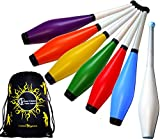 TRAINER Juggling Clubs Set of 3 (13-Colour-Combos) + Flames N Games Travel Bag! 3x Juggling Clubs for Training - Ideal For Kids & Beginners! (Green/Purple/Red)
