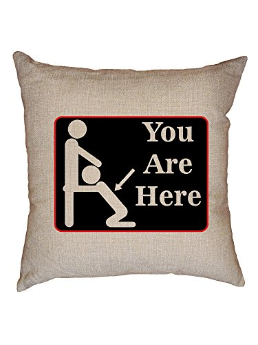Hollywood Thread You Are Here! - Blowjob Sign Pointing to Woman Decorative Linen Throw Cushion Pillow Case with Insert by Hollywood Thread