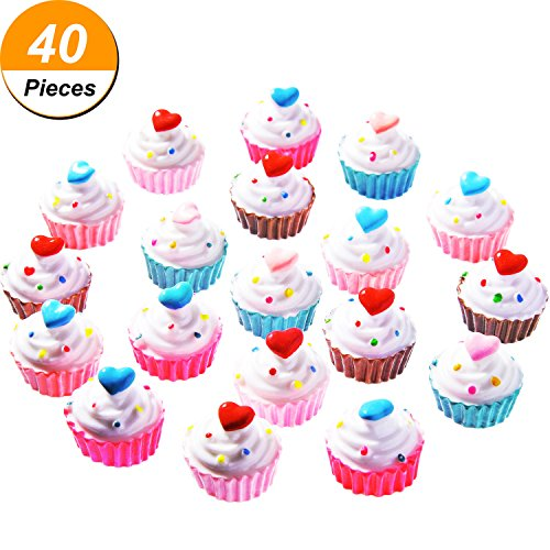 TecUnite 40 Pieces Cupcakes Slime Charms Slime Beads Supplies for Homemade Crafts, Assorted Colors (Piece Of Cake Charm)