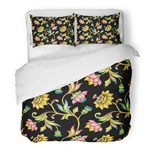 - Tarolo Bedding Duvet Cover Set Tropical Floral Pattern Medieval Watercolor Hand Colorful Flowers and Leaves Black Vintage Botanical Ethnic 3 Piece Queen 90