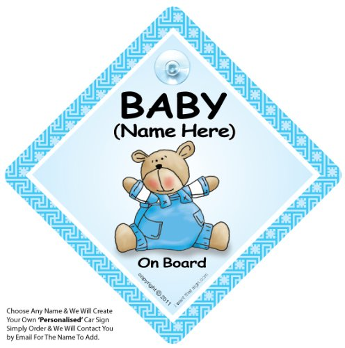 Baby On Board Sign Blue Bear Quilt Personalised Car Sign, Personalised Baby On Board Sign, Custom Baby on Board Sign, WE'LL ADD ANY NAME To Create Your Own Personalised on Board Sign, Personalised Baby on Board Signs, Personalised Car Signs, Personal