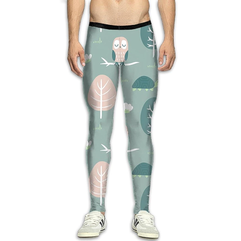 GFGRFDD Trees and Owls Printed Yoga Pants Men Anti-Sweat Bodybuilding Sport Skull Leggings Quick Drying