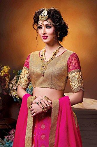 Da Facioun Womens Silk Fabric Pink Pretty Circular Lehenga Style 84032