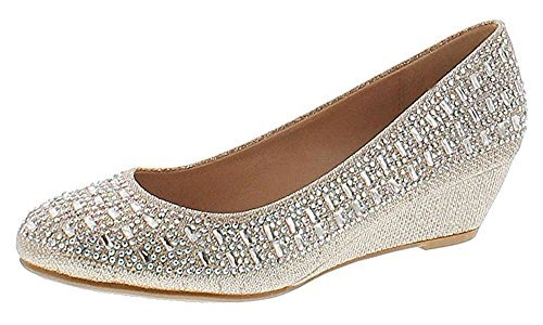 Forever Womens Fisher-3 Low Wedge Heel Closed Toe Wedding Pa