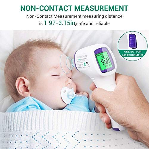 Forehead Thermometer For Adults/Kids, Non Contact Infrared Thermometer For Fever, Medical Thermometer, Precise Digital Forehead Body Thermometer For Adults Kids And Baby, Easy To Read At Night
