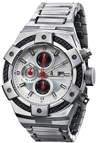 CALABRIA - ARMATO Forte - White Dial Men's Watch with Carbon Fiber Bezel & Stainless Steel Band