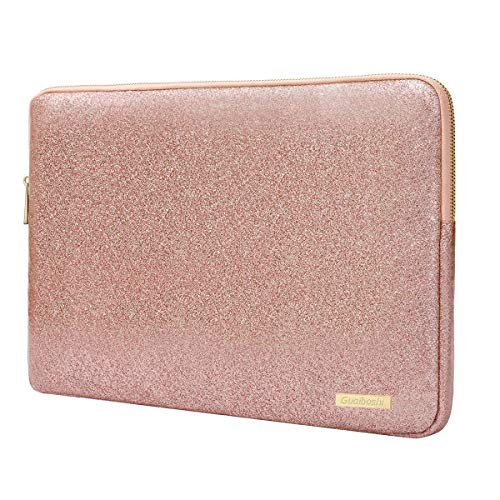 (Laptop Sleeve Compatible 13-13.3 Inch MacBook Pro Retina/MacBook Air/Surface Laptop,Waterproof Glitter PU Leather Vertical Style Padded Bag Protective Case Cover, Rose Gold)