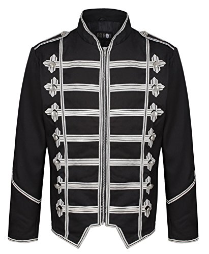 Ro Rox Men's Steampunk Military Parade Gothic Jacket - Black & Silver (Medium) -