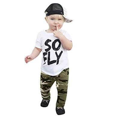 2Pcs Toddler Kids Baby Boys Camouflage Letter T-Shirt Tops+Pants Elastic Outfits  Clothes 5df8c0f0a9