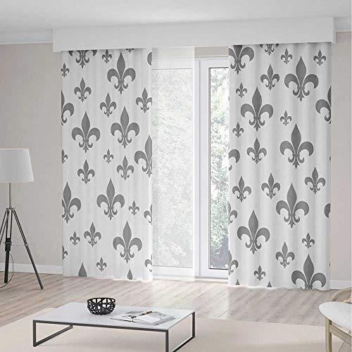 ALUONI Windows Blackout Curtain TT01 Fleur De Lis Decor Living Room Bedroom Curtain Ethnic Lily Pattern Classic Retro Royal 2 Panel Set 157W x 94LInches
