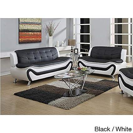 Amazon.com: US Furnishing Express Ellena Faux Black/Red ...