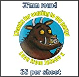 35 x Personalised Gruffalo Stickers 3.7cm Round Birthday Party Bag Thank You Seals