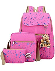 Benry Cute Lightweight Canvas School Backpacks Laptop Backpack Shoulder Bag (Pink#3)