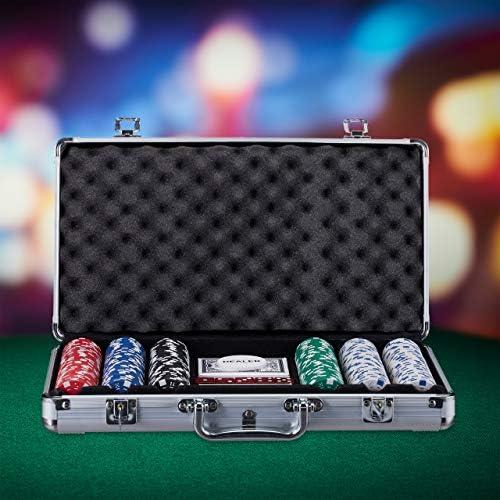 Relaxdays Poker Set, 300 Fiche, 2 Mazzi di Carte, 5 Dadi, Dealer Button, Valigetta in Alluminio richiudibile, Argento, Multicolore, 10023519
