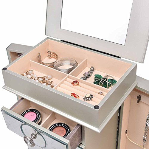Jewelry Cabinet with Mirror Jewellery Box Organizer Wooden Jewelry Storage Armoire Hanging 4 Drawers, White by GentleShower (Image #2)