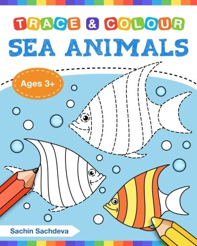 Sea Animals (Trace and Colour): Tracing and Coloring