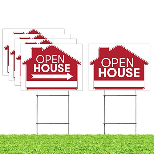 "Estate Sign - Open House Sign Bundle Kit – [Upgraded] 5 Double Sided Red Pro Real Estate Property Yard Signs Bulk Pack & 5 Heavy Duty H Wire Stakes – Large Directional Arrows - 18""x 24"" Realtor Agent Supplies"