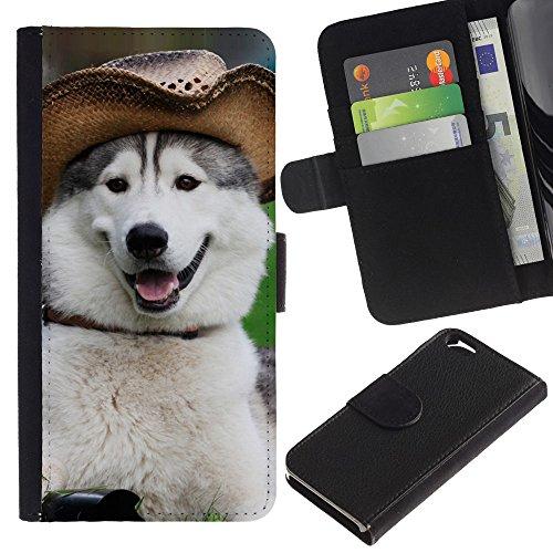 EuroCase - Apple Iphone 6 4.7 - alaskan malamute siberian husky funny - Cuir PU Coverture Shell Armure Coque Coq Cas Etui Housse Case Cover
