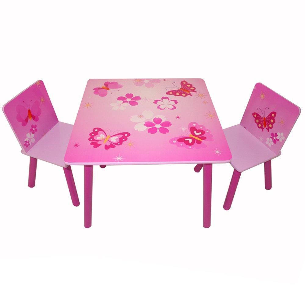 entrega de rayos Homestyle4u 1 Mesa y 2 sillas Juego Juego Juego de Muebles de taburetes con diseño de Mariposa, Madera, 30 x 30 x 30 cm  hasta un 50% de descuento