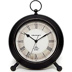 Timelink Vintage Finial Crosley Classic Alarm Clock for Desk and Mantel, Antique Distressed Finish, All Metal Construction, Large 8'' Diameter, Roman Numeral Dial