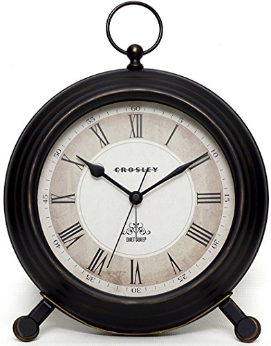 Timelink Vintage Finial Crosley Classic Alarm Clock for Desk and Mantel, Antique Distressed Finish, All Metal Construction, Large 8