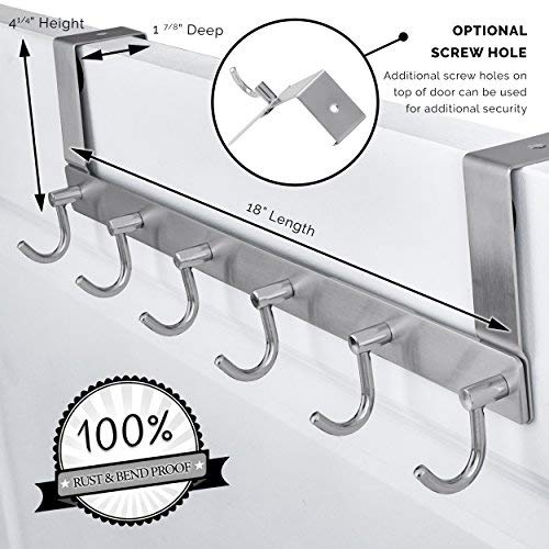 Organizer Angel Over the Door 6 Hook - BEAUTIFUL SLEEK MODERN Design - SOLID 304 STAINLESS STEEL SUPREME QUALITY - Coat, Towel Rack Storage Hanger - { BONUS GIFT 2 Wall Mounted Adhesive Hooks } by Organizer Angel