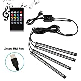 Car LED Strip Lights - 4pcs 48 LED Multicolor Music Car Interior Atmosphere Lights, USB LED Strip for Car TV Home with Sound Active Function, Wireless Remote Control and Smart USB Port