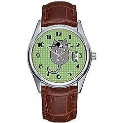 Reloj de cuarzo para hombre, de moda, simple, casual, impermeable, con fecha, clásico, de piel, de Navidad, lindo disfraz de gato, pirata, para Halloween