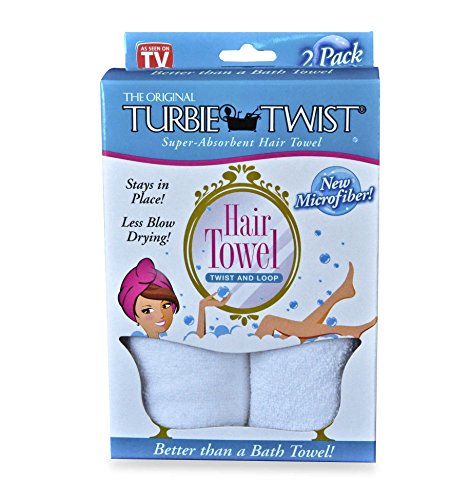 Turbie Twist Microfiber Hair Towel 2 Pack(White) by Turbie Twist