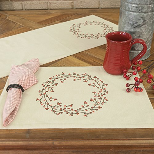 - Piper Classics Twig & Berry Vine Placemats, Set of 4, 12