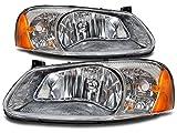 Headlights Depot Replacement for Chrysler Sebring 4-Door Sedan/Convertible/Dodge Stratus Sedan New Headlights Set