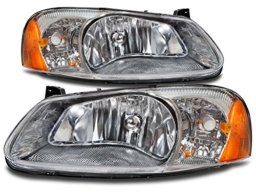 HEADLIGHTSDEPOT Compatible with Chrysler Sebring 4-Door Sedan/Convertible/Dodge Stratus Sedan New Headlights Set