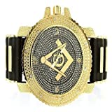 Mens Sun Dial Masonic Yellow Gold Finished Bullet Band Techno Watch