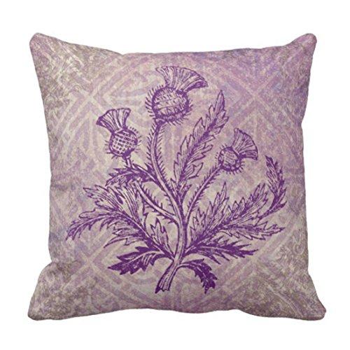 Emvency Throw Pillow Cover Scottish Thistle Purple Celtic Decorative Pillow Case Home Decor Square 20 x 20 Inch Pillowcase