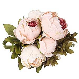 Duovlo Artificial Peony Silk Flowers Fake Flowers Vintage Wedding Home Decoration,Pack of 1 2