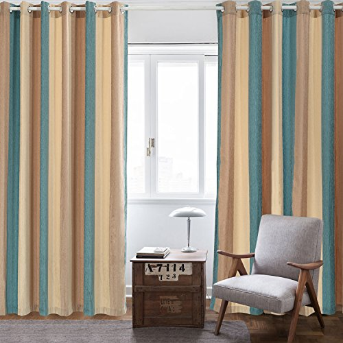 Curtains Wide Stripes Grommet Window Curtains for Living Room Bedroom One Panel (Blue, 52X63) ()