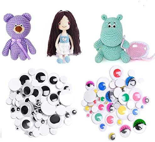 Googly Wiggle Eyes Self-Adhesive for Doll,Puppet,Teddy Bear,Plush Anima SUPEREVA 1240 Pieces Colorful Plastic Safety Eyes and Noses with Washers Assorted Sizes