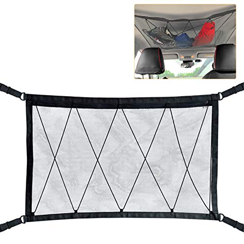 WETDCQ Car Ceiling Cargo Net Pocket - Car Roof Adjustable Interior Cargo Net Mesh Bag, Long Trip Storage Bag Sundries Storage Pouch