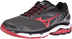 Mizuno Men's Wave Inspire 13 Running Shoe, Gunmetalhigh Risk Red, 11 D Us