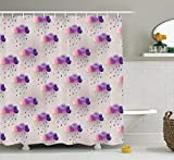 Pink and Purple Polka Dot Shower Curtain GOOESING Geometric Decor Shower Curtain Set, Retro Decor Triangle Pattern Geometric Art Mosaic Rain Drops on Polka Dots Print, Bathroom Accessories, Purple Grey Pink