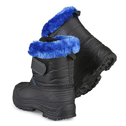 amp; Easy Boys Girls Black Boots Kids Toddlers Warm amp; Insulated Dry Blue Snow Little Close 7Y7APxnq