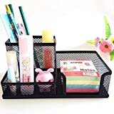 MeRaYo Metal Mesh 3 Compartments Desk Organiser/Stationery Stand for Work and Students (Black)