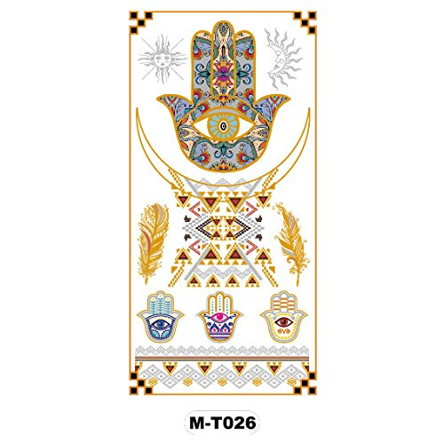 2a57267c4 Temporary Tattoo Metallic Gold Silver Palm Eyes Indian Totem M-T026 30%OFF